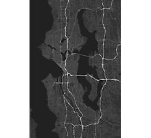 Seattle, USA Map. (White on black) Photographic Print