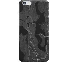 Seattle, USA Map. (White on black) iPhone Case/Skin