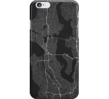 Seattle, USA Map. (White on black) iPhone Case/Skin