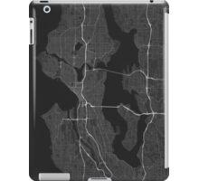 Seattle, USA Map. (White on black) iPad Case/Skin