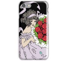 Vintage Cute Girl With Bouquet Of Roses iPhone Case/Skin