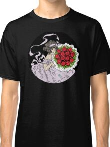 Vintage Cute Girl With Bouquet Of Roses Classic T-Shirt