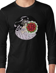Vintage Cute Girl With Bouquet Of Roses Long Sleeve T-Shirt