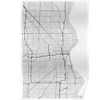 Milwaukee, USA Map. (Black on white) Poster