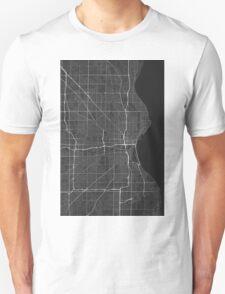 Milwaukee, USA Map. (White on black) Unisex T-Shirt