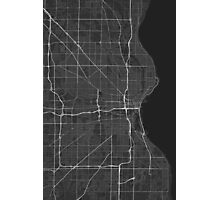 Milwaukee, USA Map. (White on black) Photographic Print