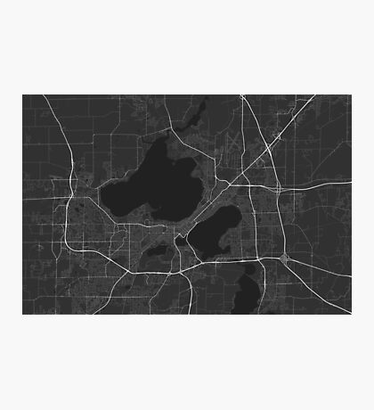 Madison, USA Map. (White on black) Photographic Print