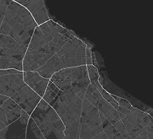 Buenos Aires, Argentina Map. (White on black) by Graphical-Maps