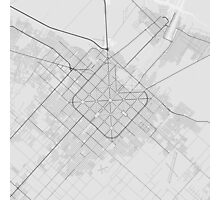 La Plata, Argentina Map. (Black on white) Photographic Print