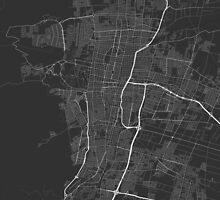 Mendoza, Argentina Map. (White on black) by Graphical-Maps