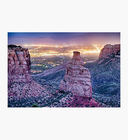 Colorado Independence Monument and City Lights Of Grand Junction Photographic Print
