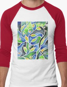 Whimsical Garden Organic Decor III Men's Baseball ¾ T-Shirt