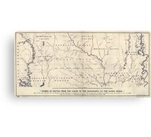 0071 Railroad Maps Map of the route surveyed from the Mississippi at Lake Providence in Louisiana to the great bend of Red river at Fulton in Canvas Print