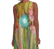 """Gilded Garden"" - Colorful, Original Artist's Design! A-Line Dress"