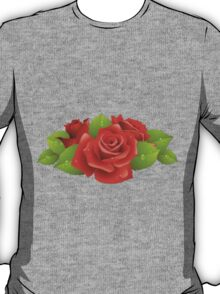 Roses, Flowers, Leaves, Petals - Red Green  T-Shirt