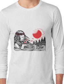 Origami Crane Girl Long Sleeve T-Shirt