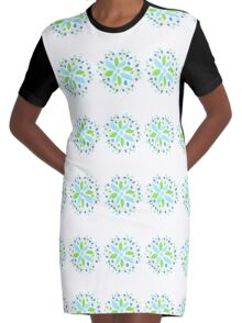 Fresh Blues And Green Graphic T-Shirt Dress