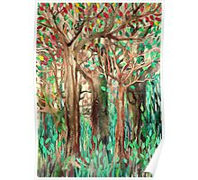 Walking through the Forest - watercolor painting collage Poster
