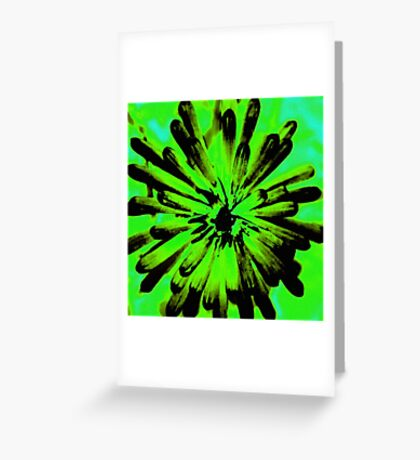 Green + Black Painted Flower Greeting Card