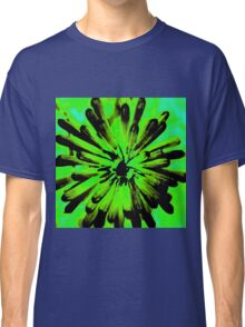 Green + Black Painted Flower Classic T-Shirt