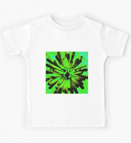 Green + Black Painted Flower Kids Tee