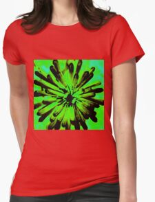 Green + Black Painted Flower Womens Fitted T-Shirt