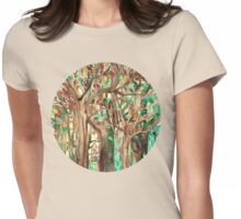 Walking through the Forest - watercolor painting collage Womens Fitted T-Shirt