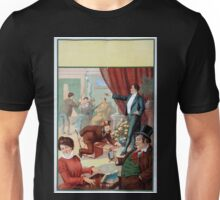 Performing Arts Posters Hypnotist directing people to do unusual activities woman playing table like a keyboard instrument man riding chair like a racehorce 1566 Unisex T-Shirt