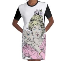 Two Faces Woman Getting Young Again Vintage Style Pastel Color Drawing  Graphic T-Shirt Dress