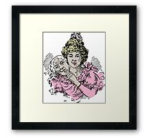 Two Faces Woman Getting Young Again Vintage Style Pastel Color Drawing  Framed Print