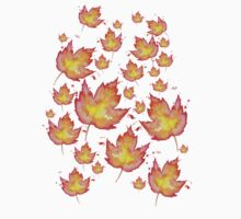 Autumn Leaves / Fall Leaf - Watercolor Painting - Tshirts + More! Halloween Jonny2may / J2Art One Piece - Short Sleeve