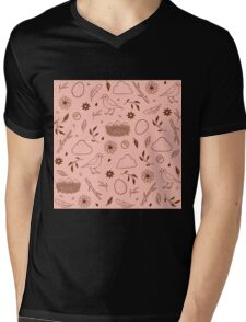 Robin Egg Pink Mens V-Neck T-Shirt