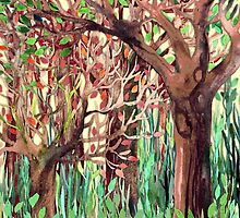 Lost in the Forest - watercolor painting collage by micklyn