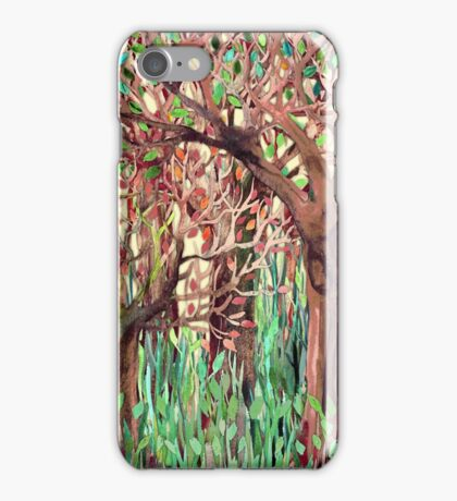 Lost in the Forest - watercolor painting collage iPhone Case/Skin
