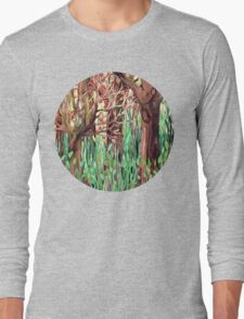 Lost in the Forest - watercolor painting collage Long Sleeve T-Shirt