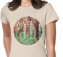 Lost in the Forest - watercolor painting collage Womens Fitted T-Shirt
