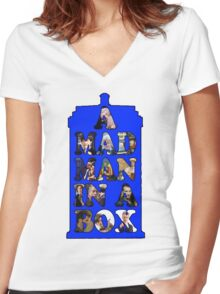 A mad man in a box Women's Fitted V-Neck T-Shirt