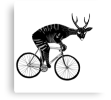 Deer & Bicycle Canvas Print