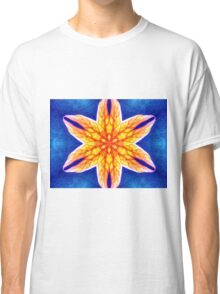 Blue Yellow Psychedelic Flower Classic T-Shirt