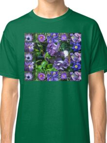 Floral Collage with Blue and Purple Flowers Classic T-Shirt
