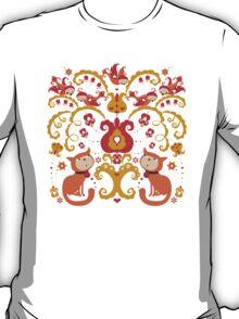 Rissian Kitties and Birds Love Tree. T-Shirt