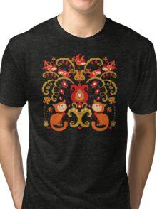 Rissian Kitties and Birds Love Tree. Tri-blend T-Shirt
