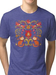 Rissian Kitties and Birds Love Tree. Tri-blend T-Shirt
