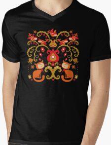 Rissian Kitties and Birds Love Tree. Mens V-Neck T-Shirt
