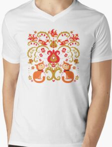 Rissian Kitties and Birds Love Tree. Mens V-Neck T-Shirt