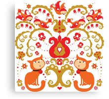 Rissian Kitties and Birds Love Tree. Canvas Print