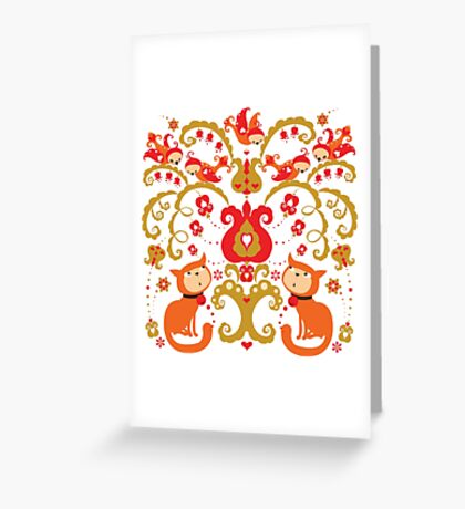 Rissian Kitties and Birds Love Tree. Greeting Card