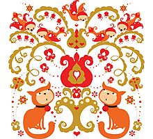 Rissian Kitties and Birds Love Tree. Photographic Print