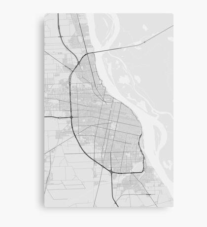 Rosario, Argentina Map. (Black on white) Canvas Print