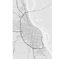 Rosario, Argentina Map. (Black on white) Photographic Print